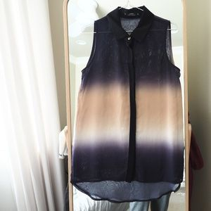 Miss Selfridge Ombre Sleeveless Shirt